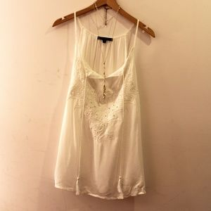 Romeo and Juliet White Embroidered Flowy Tank Top